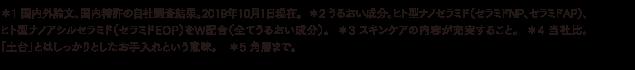 *1 国内外論文、国内特許の自社調査結果。2019年10月1日現在。  *2 うるおい成分。ヒト型ナノセラミド(セラミドNP、セラミドAP)、ヒト型ナノアシルセラミド(セラミドEOP)をW配合(全てうるおい成分)。  *3 スキンケアの内容が充実すること。  *4 当社比。「土台」とはしっかりとしたお手入れという意味。 *5 角層まで。