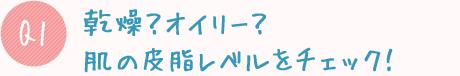 Q1:乾燥?オイリー?肌の皮脂レベルをチェック!