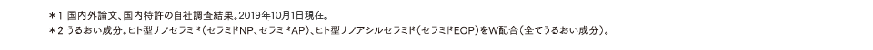 *1 国内外論文、国内特許の自社調査結果。2019年10月1日現在。*2 うるおい成分。ヒト型ナノセラミド(セラミドNP、セラミドAP)、ヒト型ナノアシルセラミド(セラミドEOP)をW配合(全てうるおい成分)。
