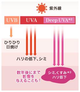 Deep UVA*2 が原因のシミ、くすみ*3、ハリ低下は数年後にまで影響を与えることも!