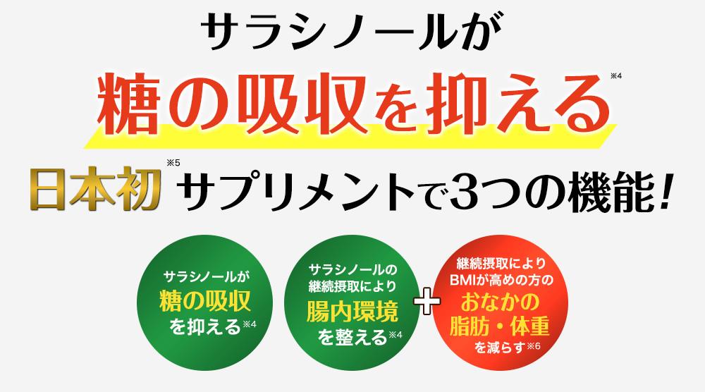 サラシノールが糖の吸収を抑える日本初サプリメントで3つの機能!「糖の吸収を抑える」「腸内環境を整える」「おなかの脂肪・体重を減らす」