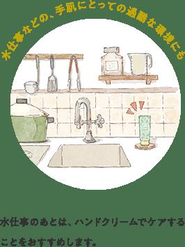 水仕事などの、手肌にとっての過酷な環境にも 水仕事のあとは、ハンドクリームでケアすることをおすすめします。